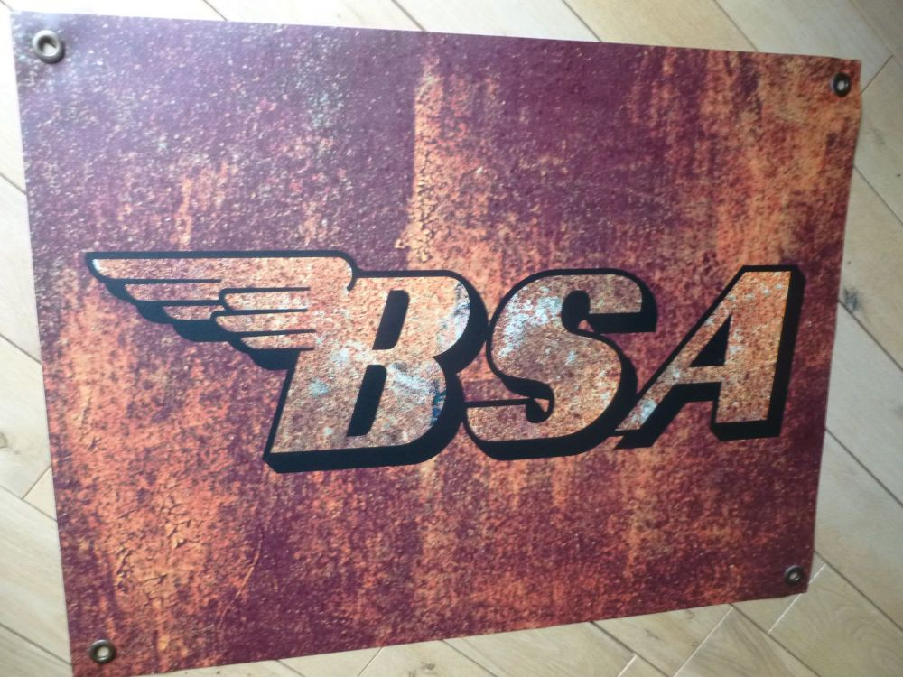 "BSA Rust Effect Banner Art. 26"" x 20""."