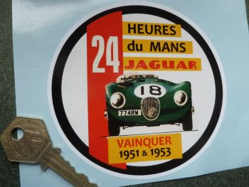 "Jaguar 'C' Type LeMans 1951 & 1953 Sticker. 4.5""."