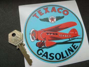 "Texaco Gasoline Aircraft Circular Sticker. 4""."
