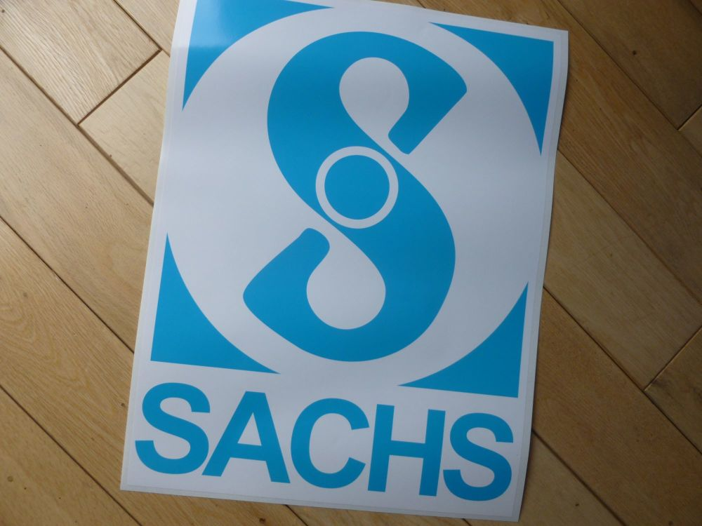 "Sachs Large Panel Vinyl Sticker. 12"" or 16""."