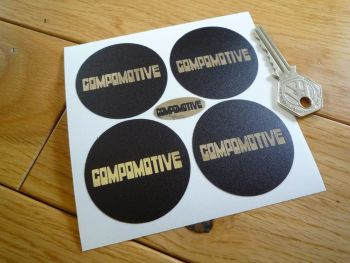 Compomotive Wheels Black & Foil Wheel Centre Stickers. Set of 4. 50mm or 65mm.