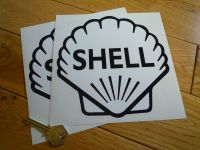 """Shell Classic Logo Black & White Stickers. 4"""", 4.5"""", 6"""" or 7"""" Pair."""