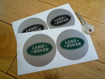 Land Rover Silver with Green or Black logo Circular Stickers. 68mm Pair.