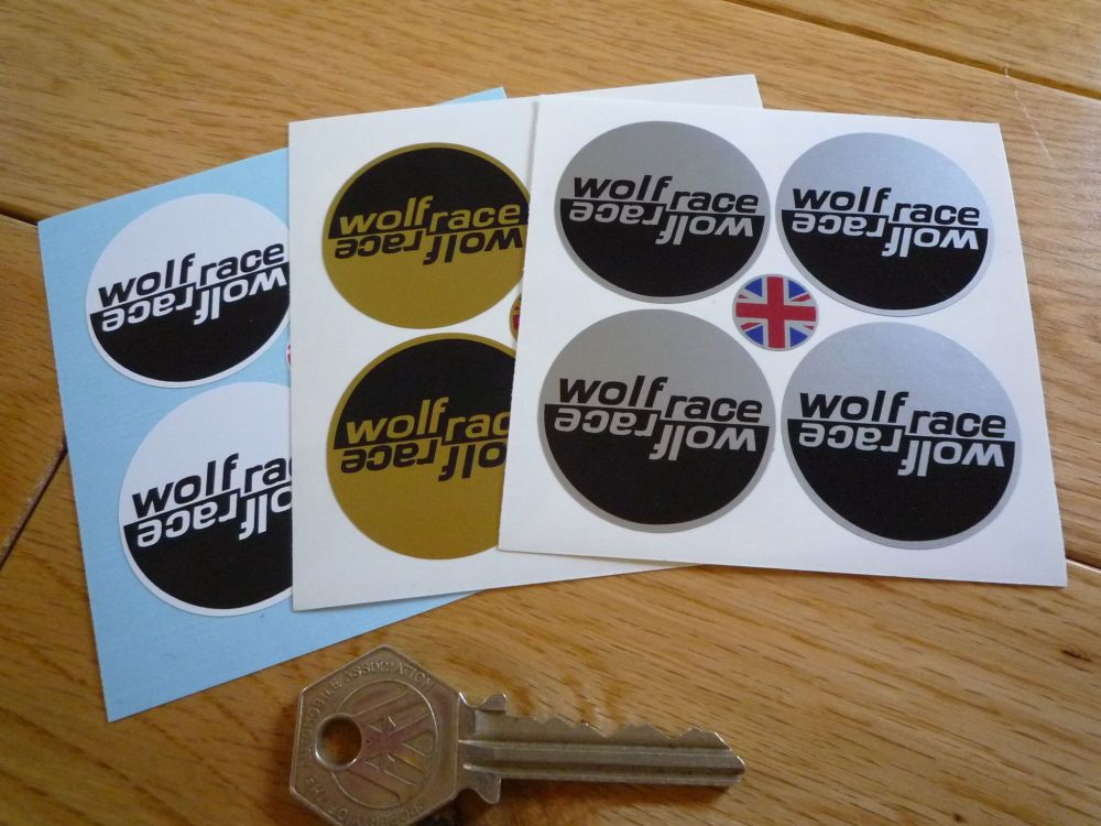 Wolfrace Wheel Centre Style Stickers. Set of 4. 33mm, 38mm, 50mm or 60mm.