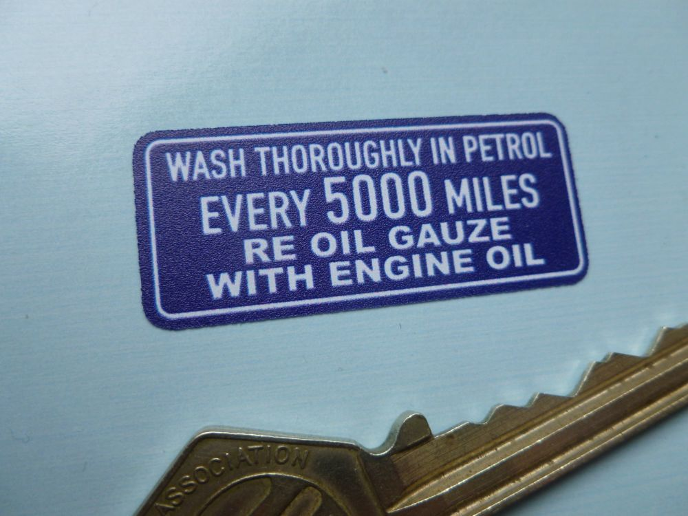 AC Wash Thoroughly Every 5000 Miles Air Cleaner Blue & White Sticker. 44mm.