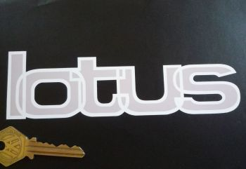 "Lotus Grey & White Shaped Text Sticker. 6.25""."