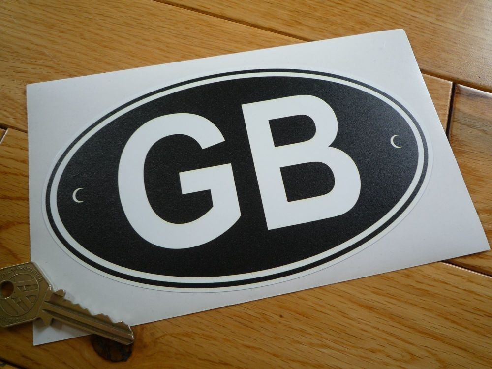 """GB Black & White Old Style ID Plate Sticker. 5"""" or 7""""."""