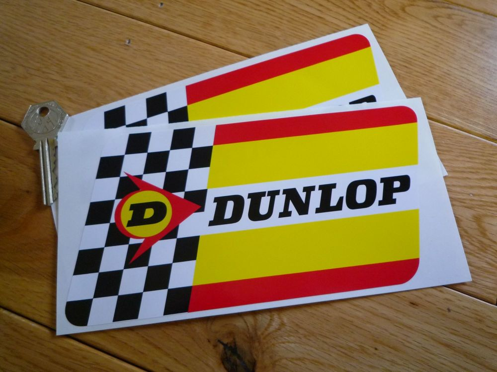 "Dunlop Extra Thick Check & Stripes, Rounded Edge, Stickers. 8"" Pair."