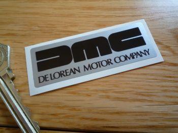"""DeLorean Small Oblong Black & Silver Sticker. 2.5""""."""