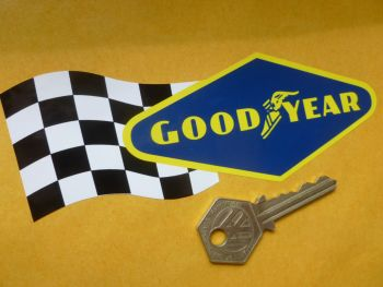 "Goodyear Diamond & Flag Shaped Stickers. 4"", 6"", or 10"" Pair."