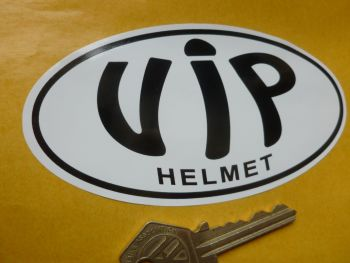 "VIP Helmet Black & White Oval Sticker. 4.75""."