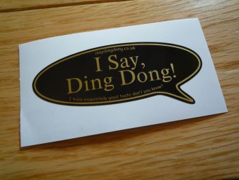 "I Say Ding Dong Speech Bubble Stickers. JPS Style. 3"", 5"", or 6"" Pair."