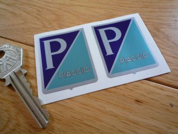 "Piaggio 'P' Shield Stickers. 1.75"" Pair."