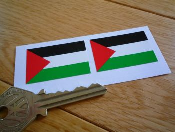 Palestinian Flag Stickers. 38mm Pair.