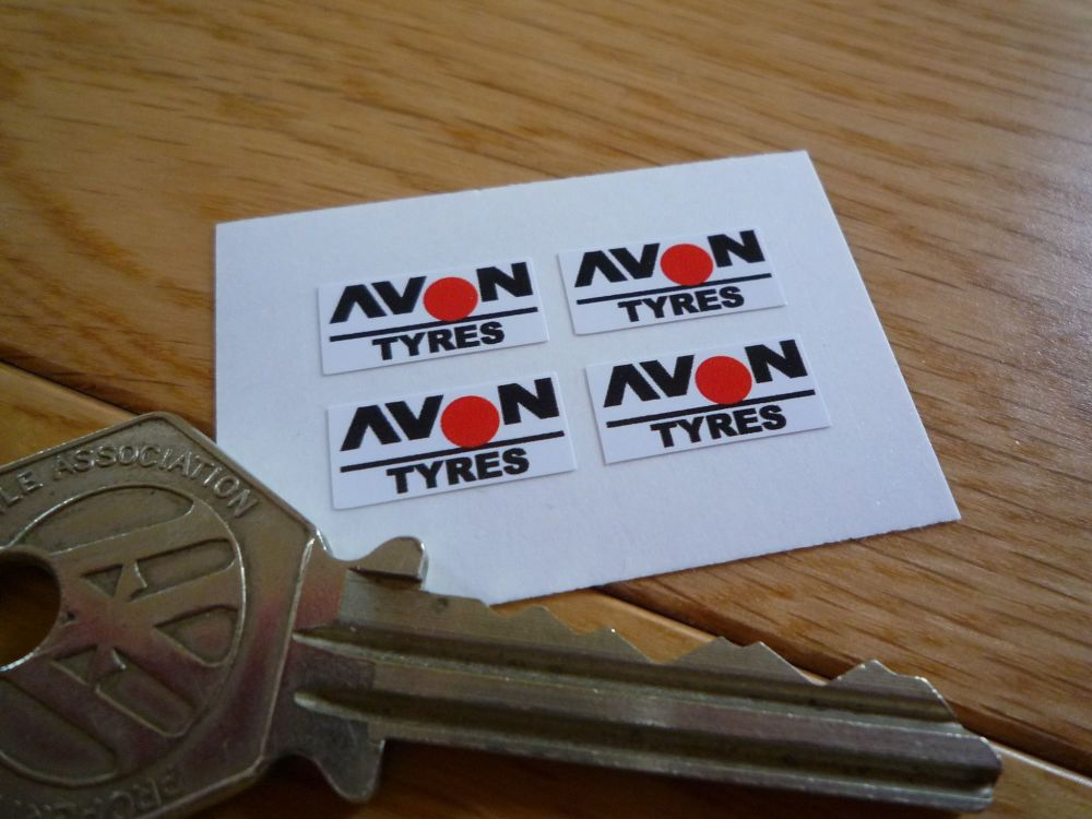 Avon Tyres Small Oblong Stickers. 15mm. Set of 4.