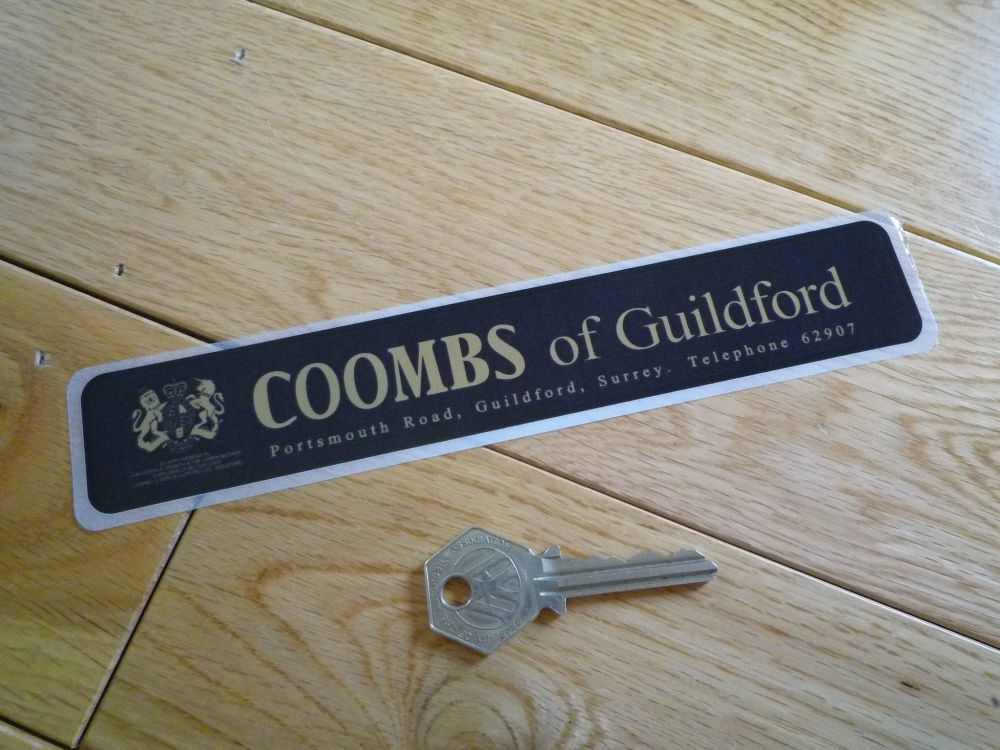 """Coombs of Guildford Portsmouth Road Window Sticker. 8"""". Slight Second 182."""