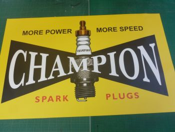 "Champion Spark Plug Old Style Yellow Workshop Wall Art Banner. 52.5"" (1330mm)."