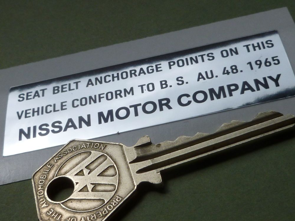 "Nissan Datsun Seat Belt Anchorage Points Sticker. 3""."