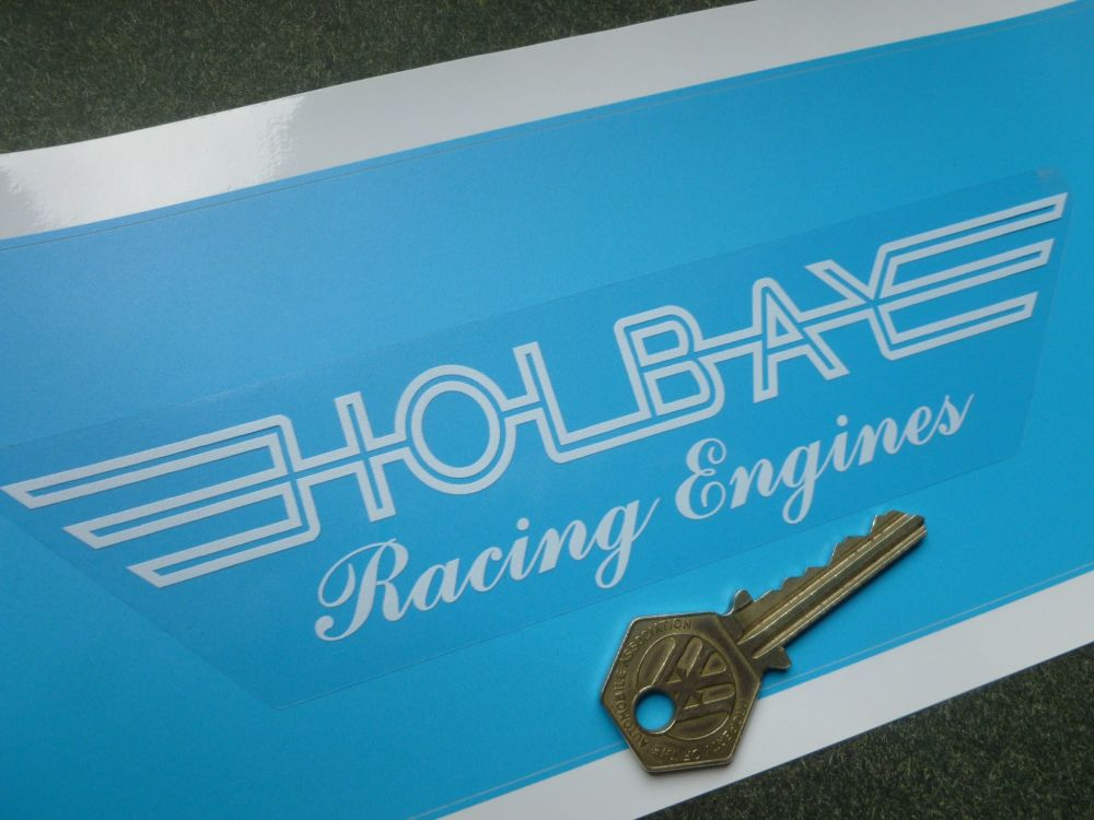 """Holbay Racing Engines Clear & White Window or Car Body Sticker. 7.5""""."""
