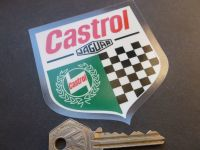 "Jaguar Castrol Chequered Shield Car Body or Window Sticker. 3""."