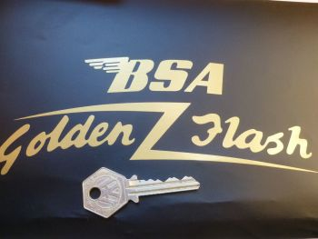 "BSA A10 Golden Flash Curved Gold Cut Text Sticker for Front Number Plate. 7""."