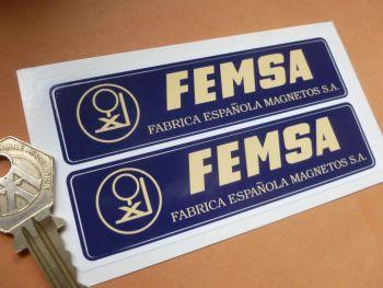 """FEMSA Battery Stickers. 4"""" Pair."""