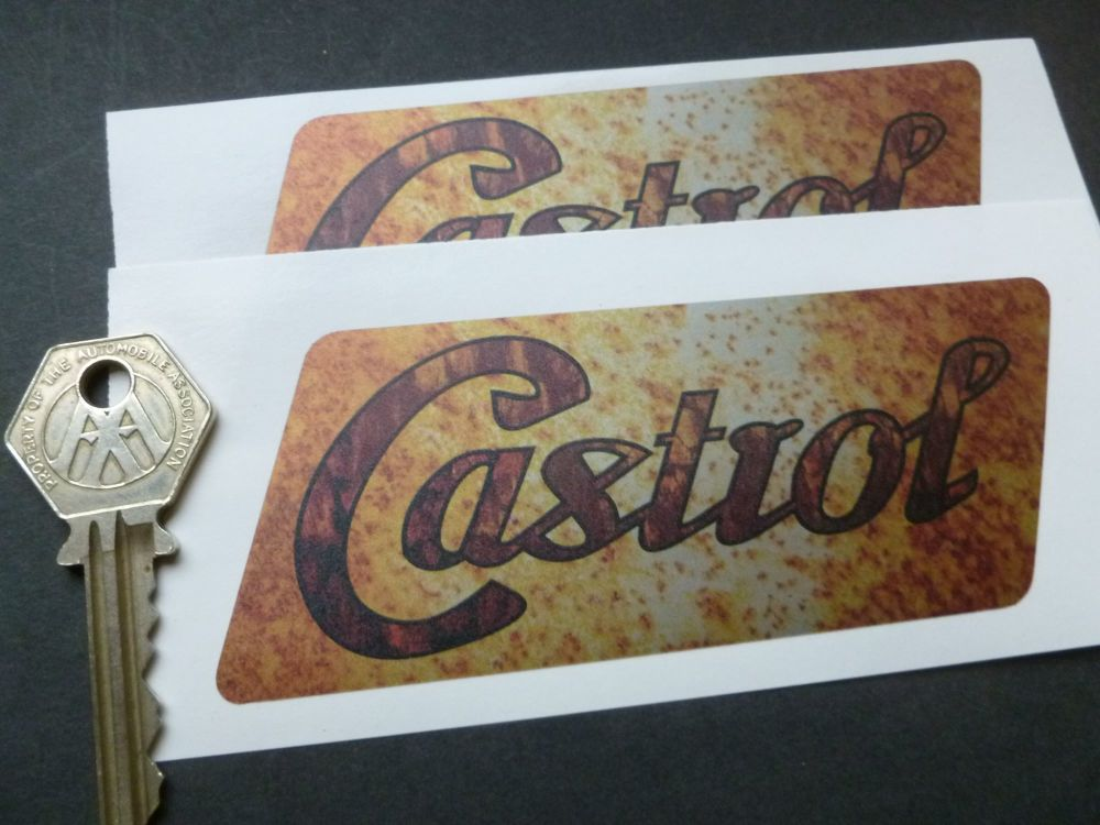 """Castrol Parallelogram Rusty Style Stickers. 5"""" Pair."""