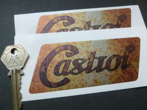 Castrol Parallelogram Rusty Style Stickers. 5