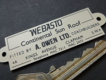 "Webasto Continental Sun Roof A Owen Coachbuilders London Laser Cut Car Badge. 3""."