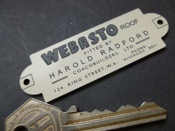 "Webasto Sunroof Harold Radford Coachbuilders Laser Cut Car Badge. 3""."