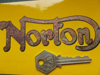 """Norton Cut Text Rusty and distressed style Stickers. 5"""" Pair."""