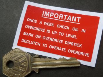 "Important Check Overdrive Oil Weekly. Red & White Land Rover Sticker. 2.5""."
