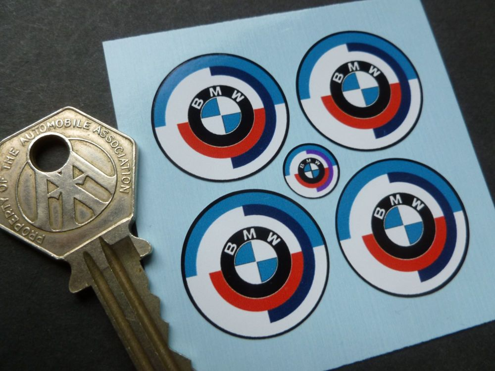 BMW Gunsight Roundel Later Blue with Black outline Style Stickers. Set of 4