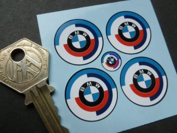 BMW Gunsight Roundel Later Blue with Black Outline Style Stickers. Set of 4. 25mm.