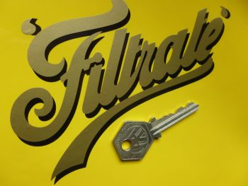 "Filtrate Old Fat Style Script Sticker. 5.5""."