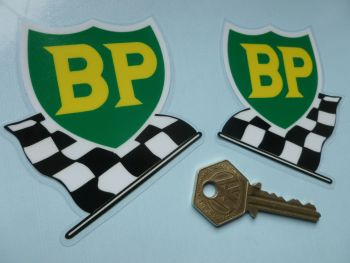 "BP '58 - '89 Shield & Chequered Flag Window Stickers. 3"" Handed Pair."