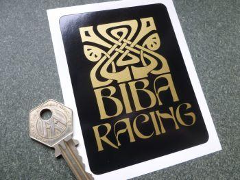 """BIBA Racing Black & Gold Sticker. 4"""" x 3""""."""