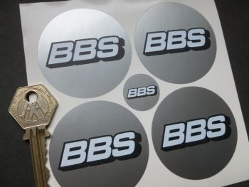 BBS Wheel Centre Stickers. White on Silver. Set of 4. 56mm.