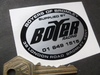 Boyers of Bromley, Boyer Racing, Motorcycle Dealer Sticker. 70mm.