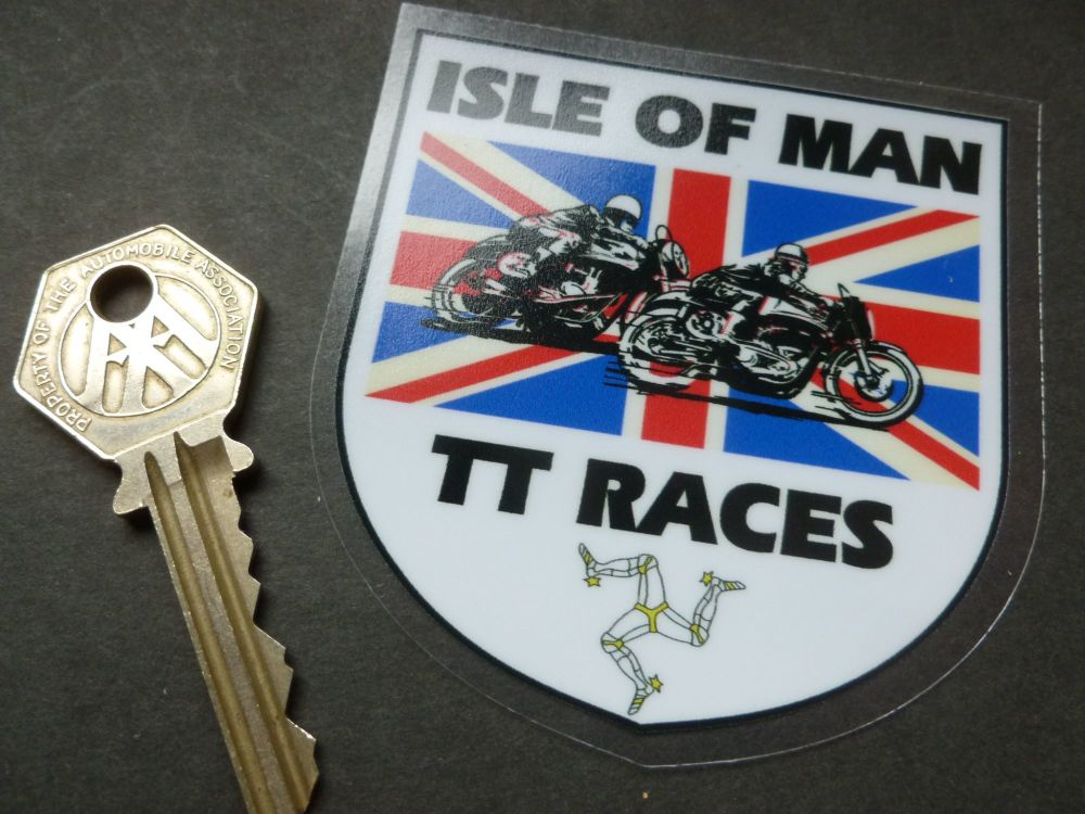 "Isle Of Man TT Races Union Jack Shield Window Sticker. 3""."