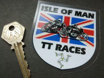 "Isle Of Man TT Races Union Jack Shield WINOW Sticker. 3""."