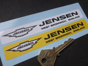 "Jensen West Bromwich Number Plate Dealer Logo Cover Stickers. 5.5"" Pair."