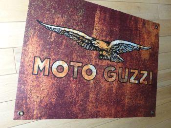 """Moto Guzzi Rust Effect Banner Art. 26"""" x 20""""."""