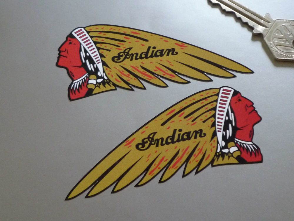 "Indian Shaped Chief's Head Stickers. 4"" or 6"" Pair."