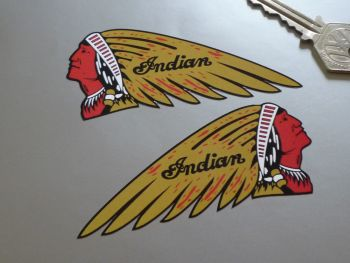 "Indian Chief's Head Stickers - Brown - 4"" or 6"" Pair"
