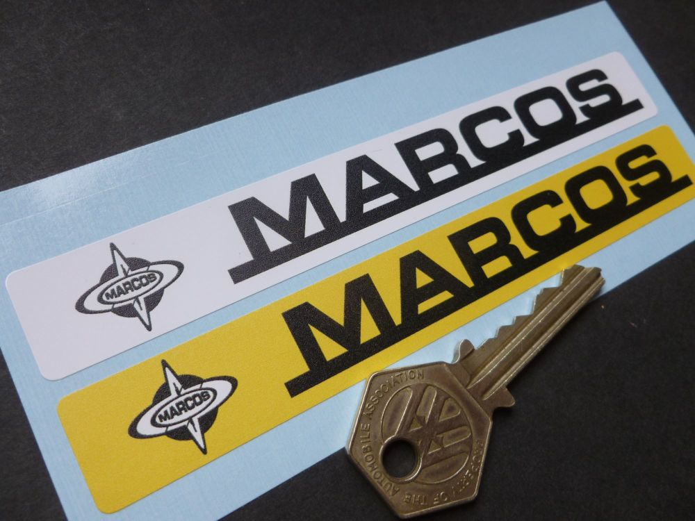 """Marcos Number Plate Dealer Logo Cover Stickers. 5.5"""" Pair."""