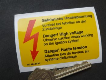 "Mercedes Benz 123 584 93 21 Danger High Voltage Underbonnet Warning Sticker. 3""."