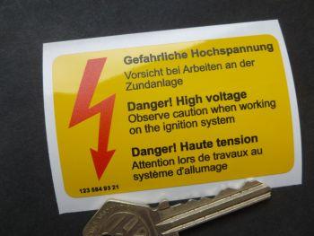 """Mercedes Benz 123 584 93 21 Danger High Voltage underbonnet Warning Sticker. 3""""."""