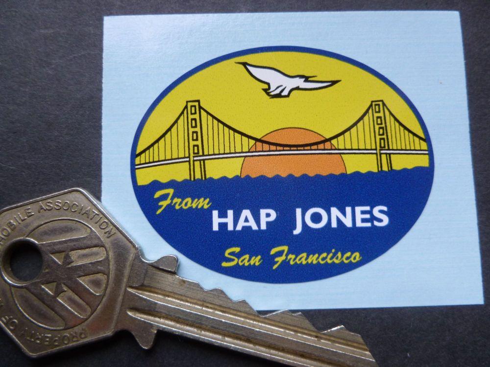 Hap Jones San Francisco Golden Gate Bridge Style Oval Dealers Sticker. 30mm or 50mm.