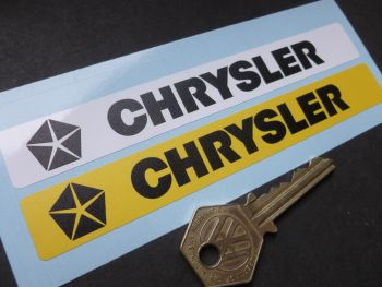"Chrysler Number Plate Dealer Logo Cover Stickers. 5.5"" Pair."